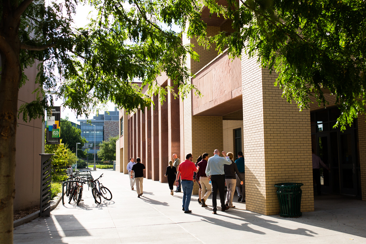 Executive MBA students walk together outside the College of Business