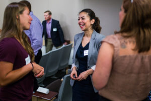 CSU MBA students talk during orientation