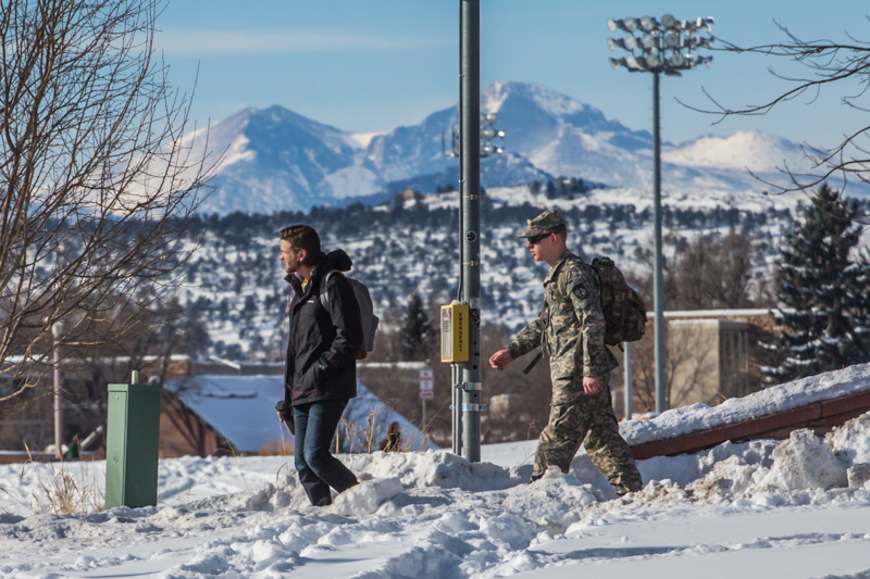 Students walk on Colorado State University's campus