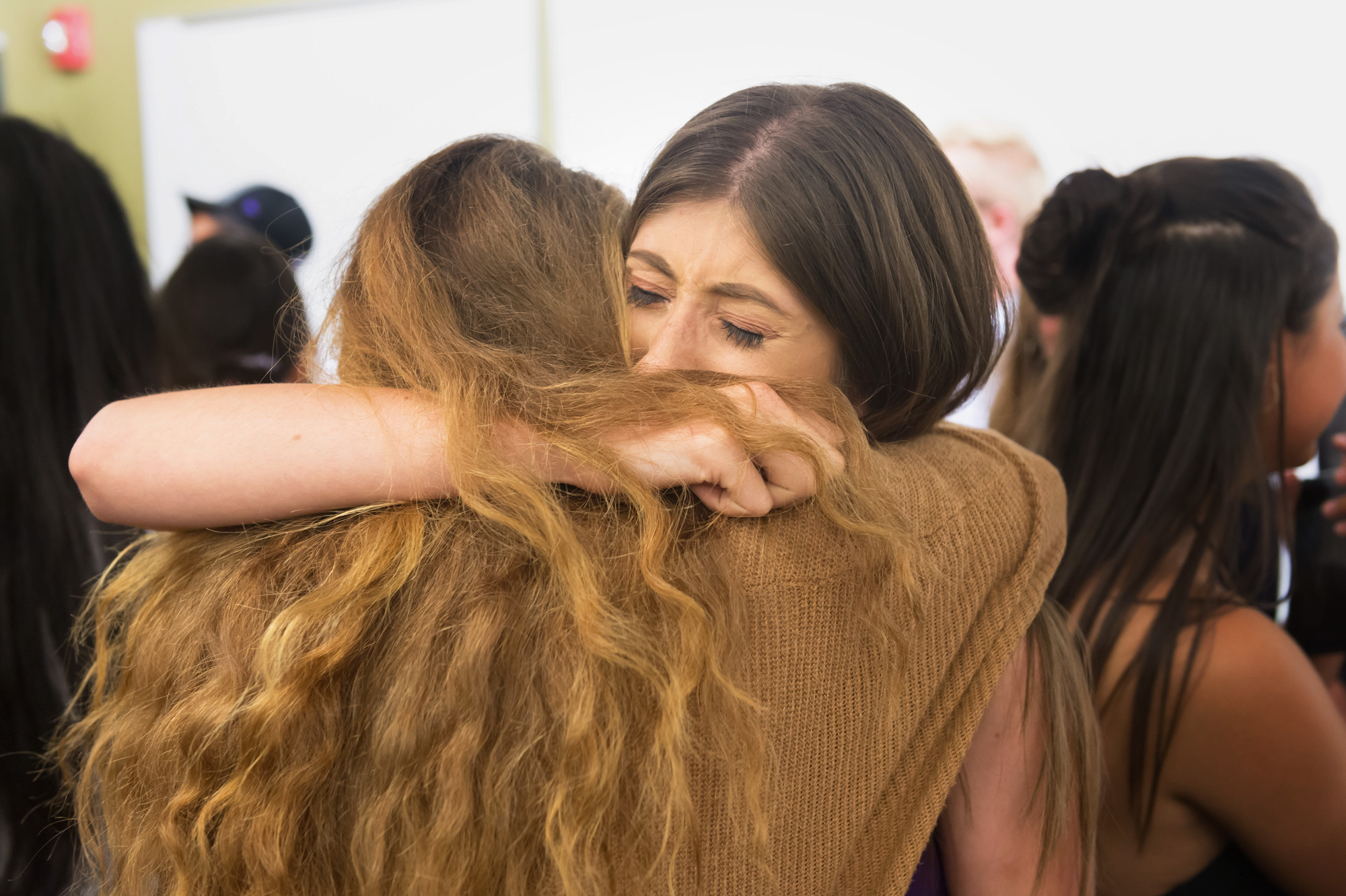 Tearful Global Business Student goodbyes