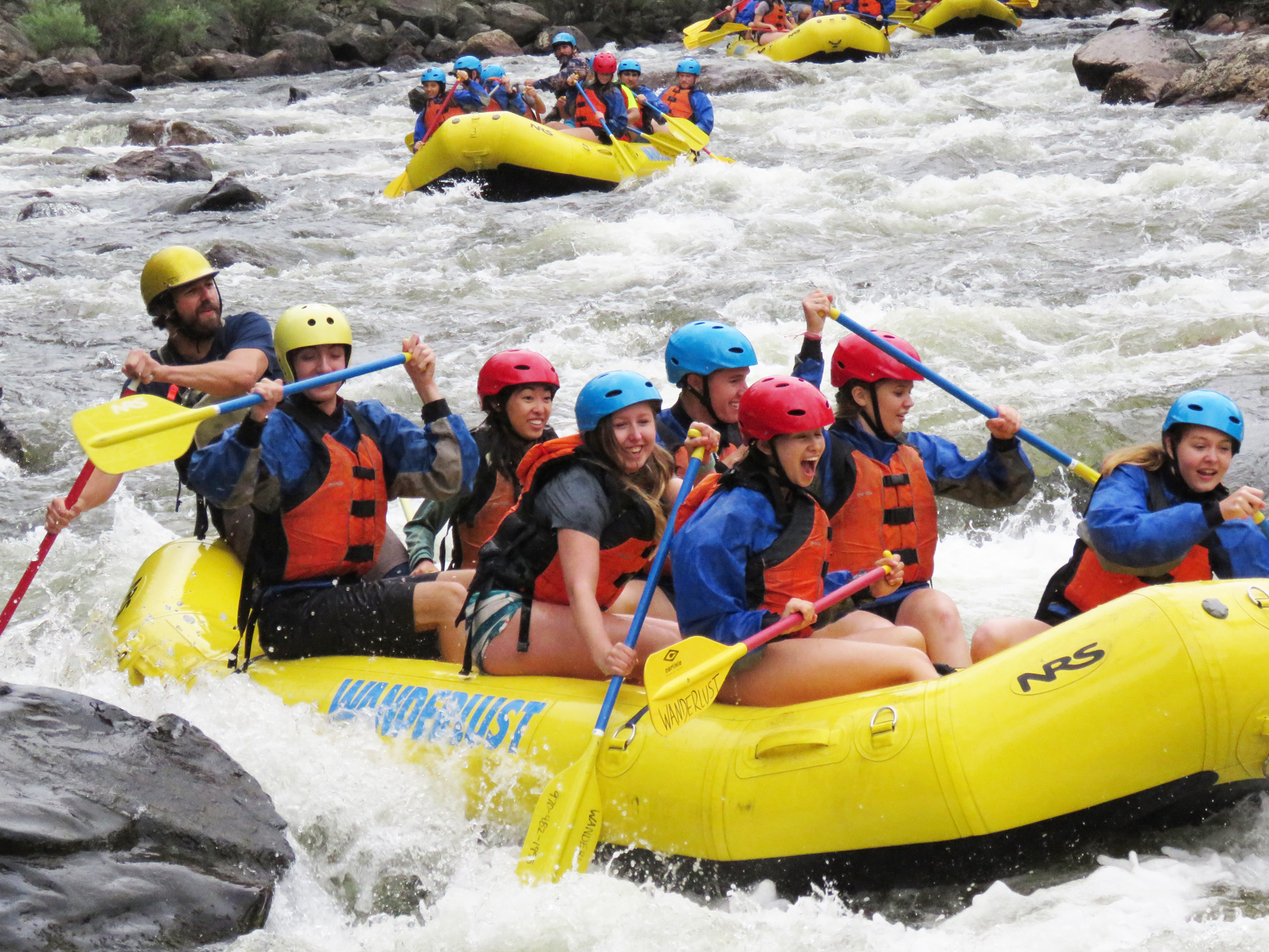 Global Business Academy students whitewater rafting