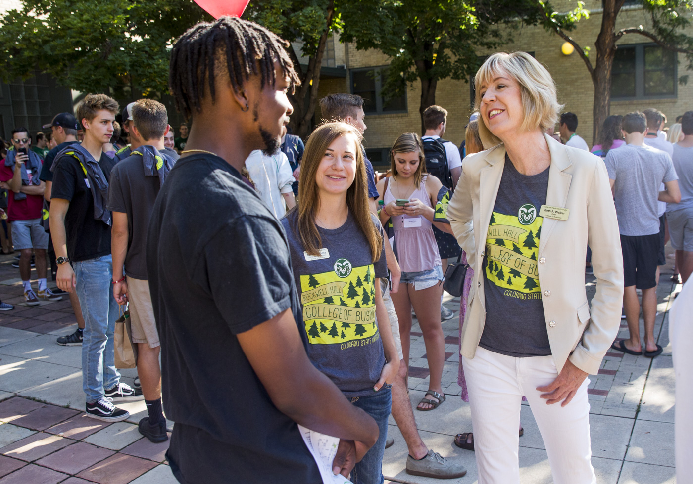 CSU College of Business Dean Beth Walker talks with students during Ram Welcome.