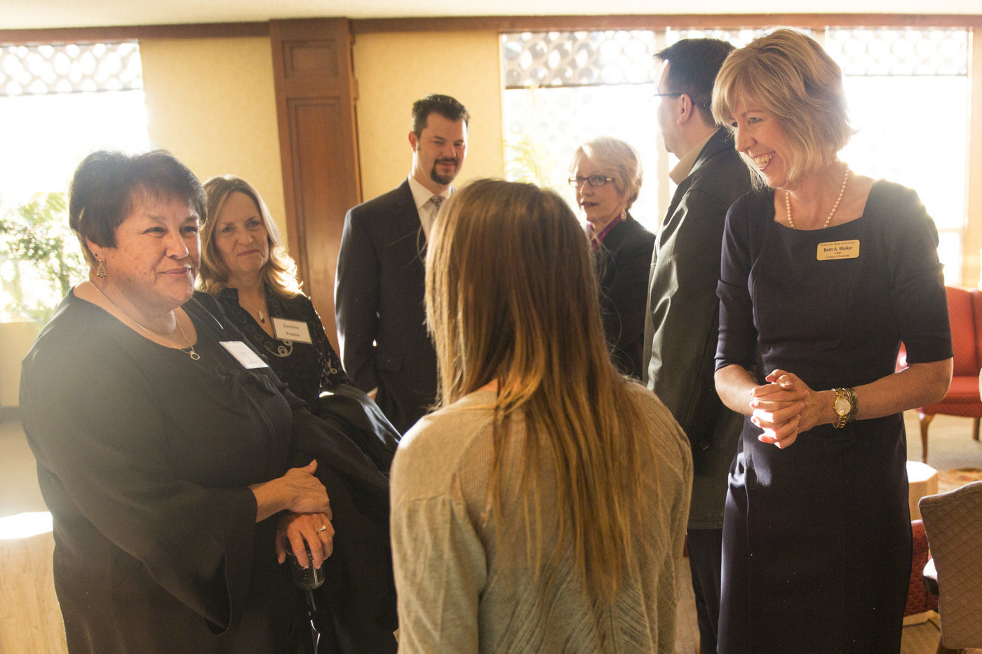 CSU College of Business Dean Beth Walker talks with students