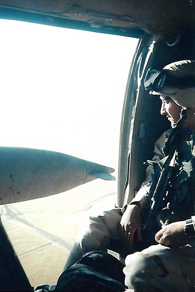 Jose Gonzales in an airplane over Iraq