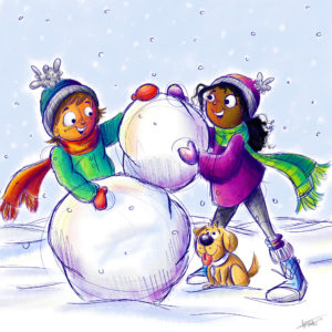 Illustration of two children building a snowman beside a dog