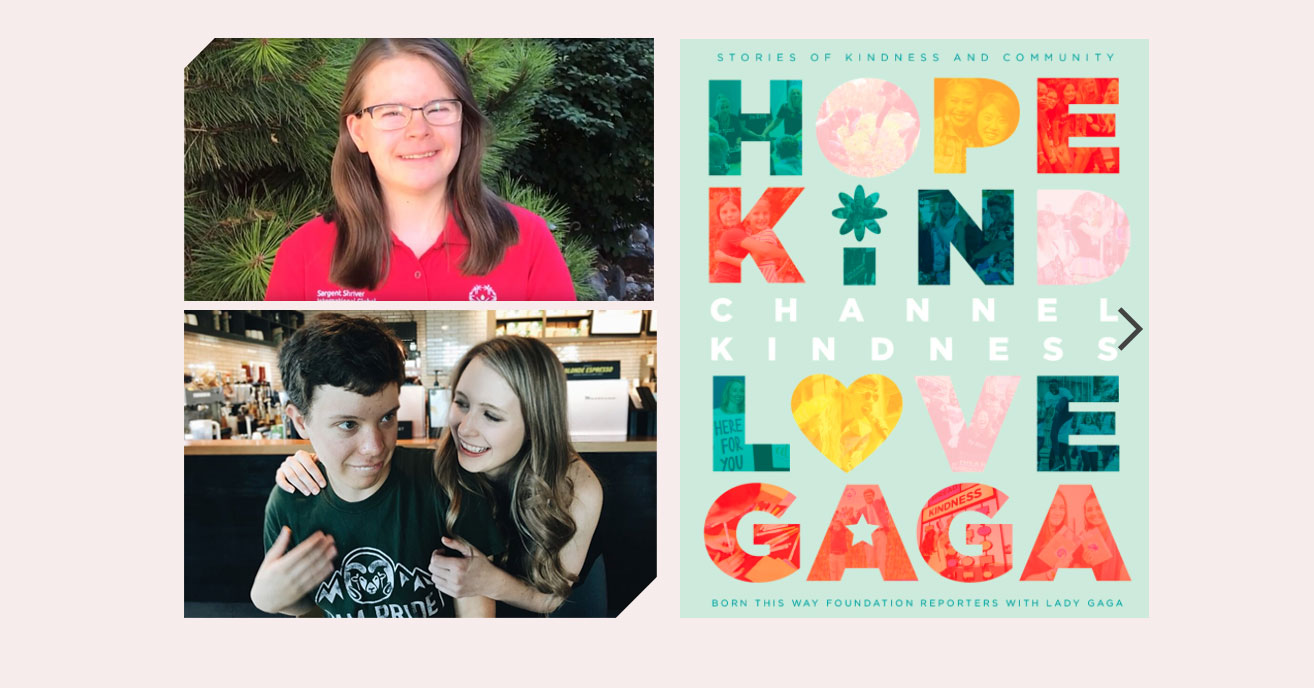 Screenshot of digital page spread of the Channel Kindness book alongside photos of Hannah and Sarah, with Sarah's brother