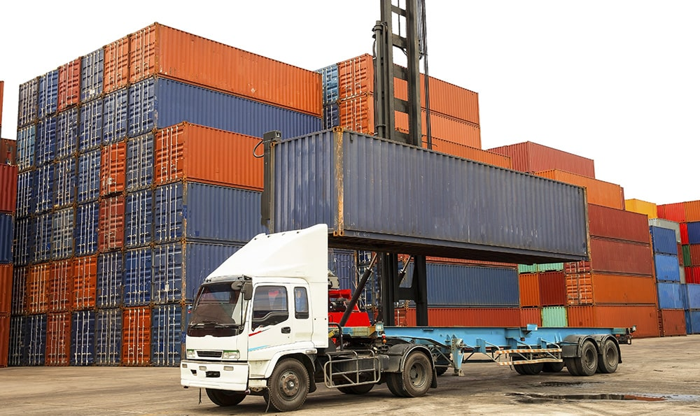 Truck being loaded with cargo