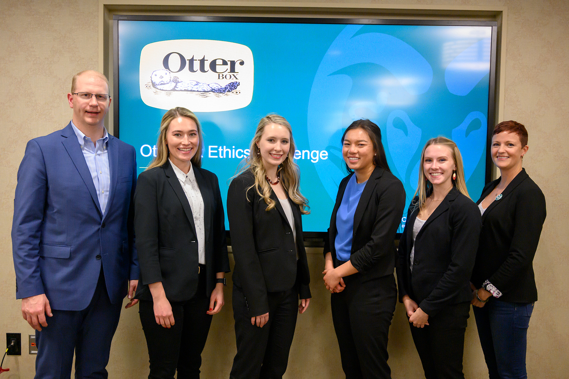 The team Ethical Rams 2.0, Callie Blasé, Sarah Greichen, Sarah Siayap and Lauren Gross, win first place in the OtterBox Ethical Challenge at Colorado State University, November 21, 2019.