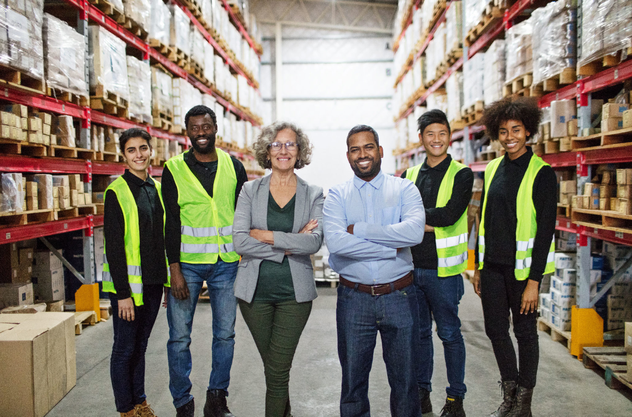 Diverse team in warehouse