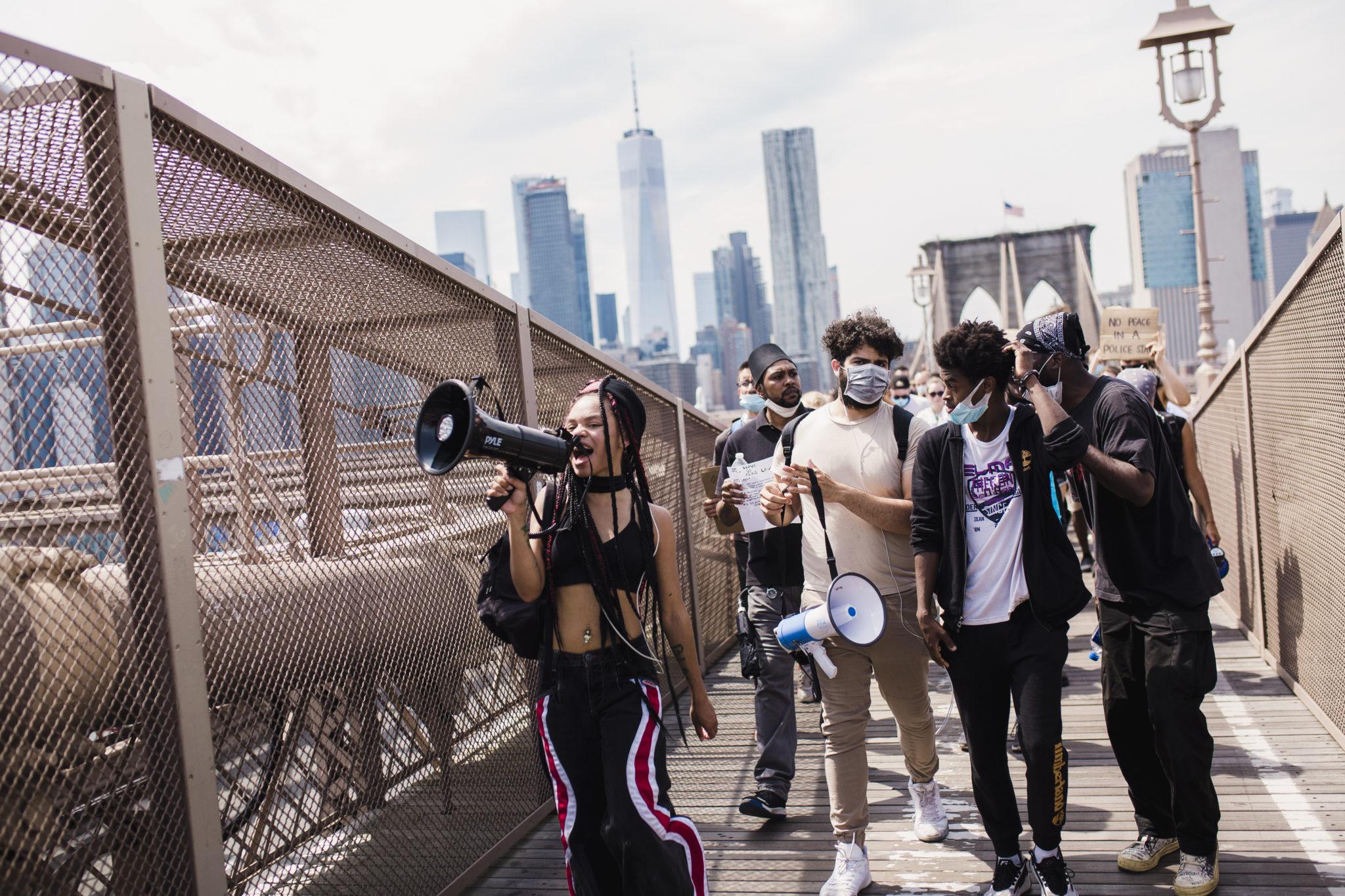 Black Lives Matter Protesters Cross the Brooklyn Bridge