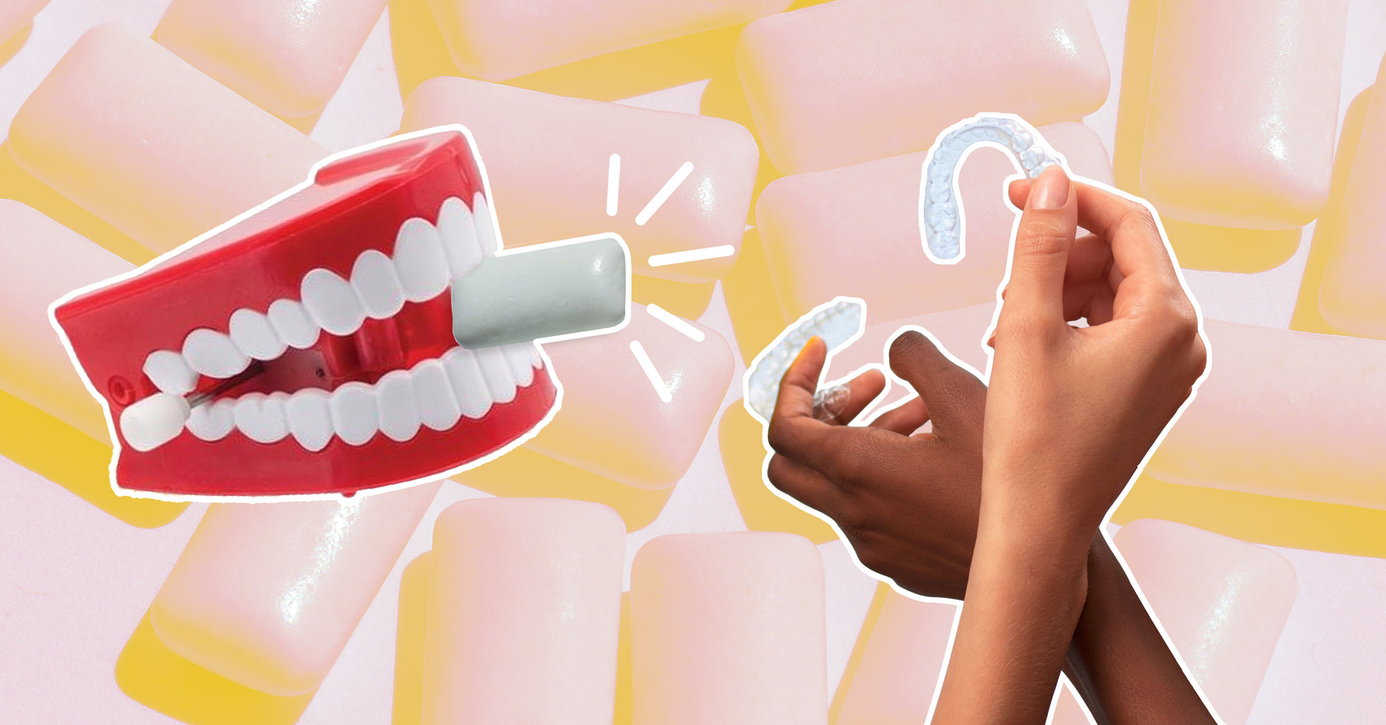 Illustration: A chattering-teeth toy holds a piece of gum in it's mouth while two hands hold up clear orthodontic aligners