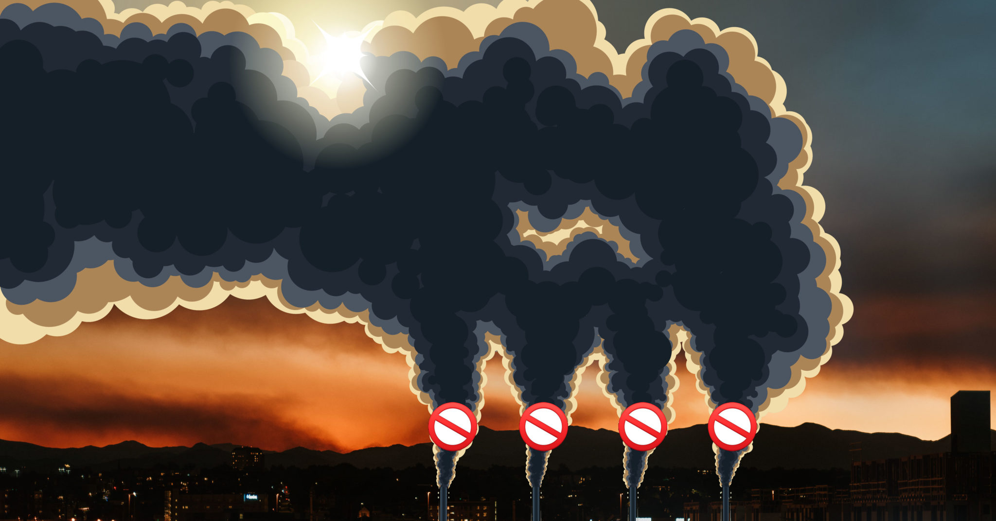 Illustration with four smoke stacks that have no entry emojis overlaid, Front Range mountains visible from Denver behind them