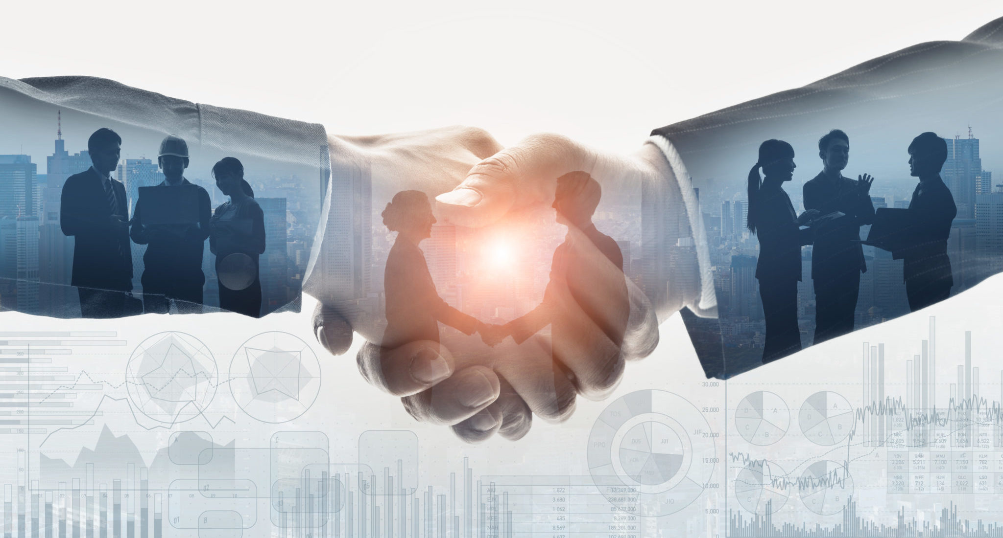 decorative, shaking hands with people working together overlaid.