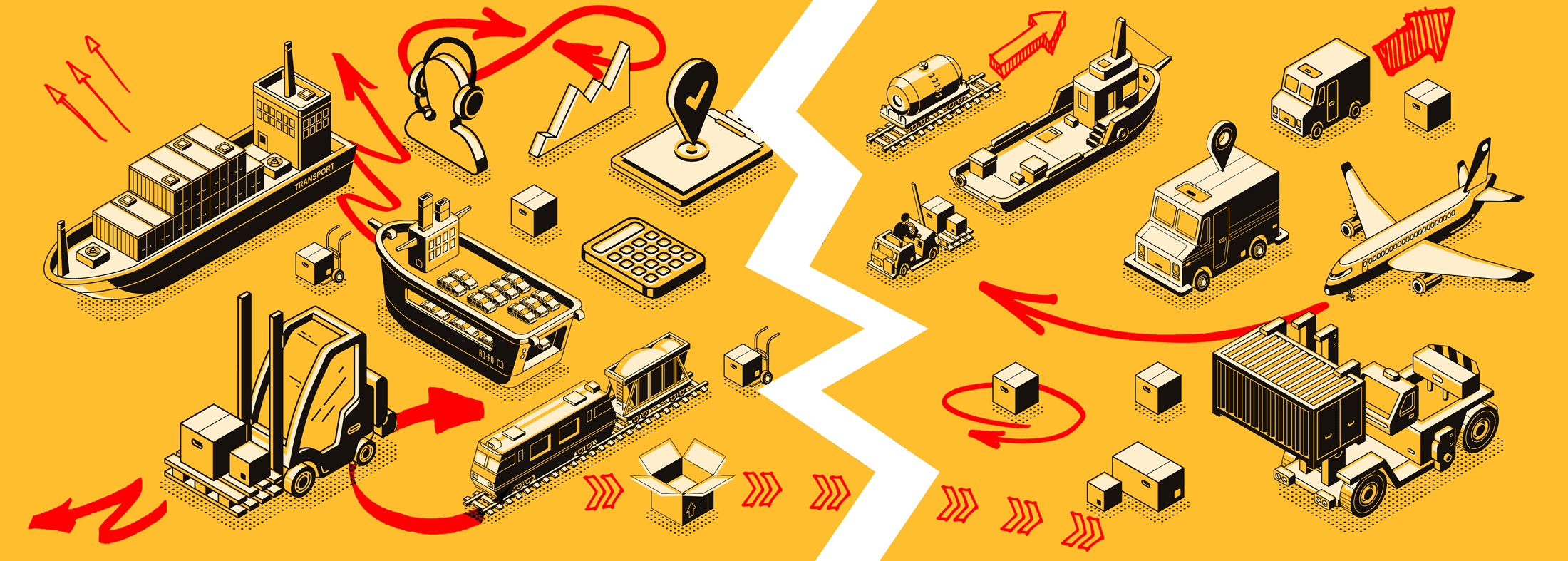 Illustration of trains, planes, ships, automobiles with convoluted arrows and a zig-zag break running between them
