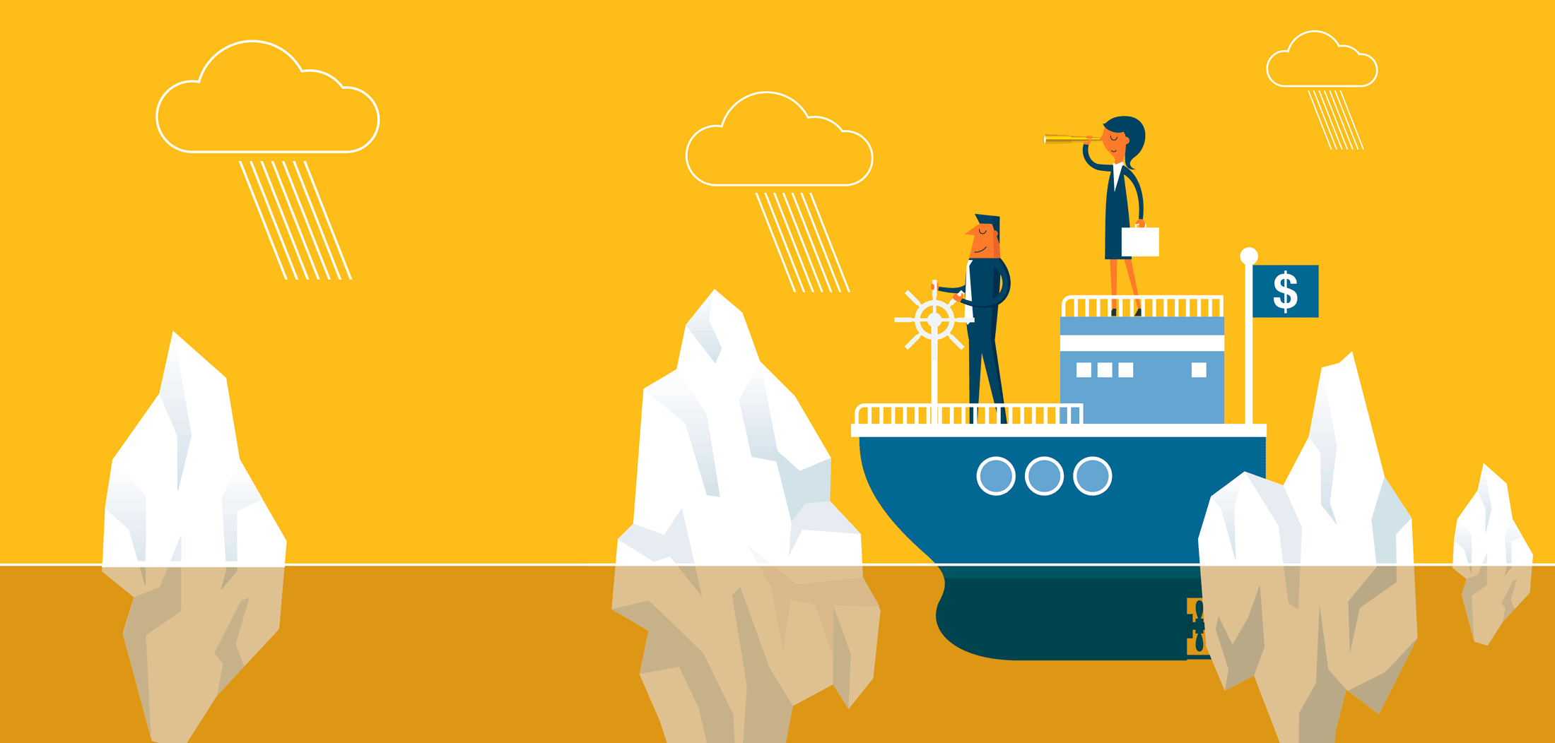 Illustration of two people on a boat with a money flag watching out for icebergs and stormy weather