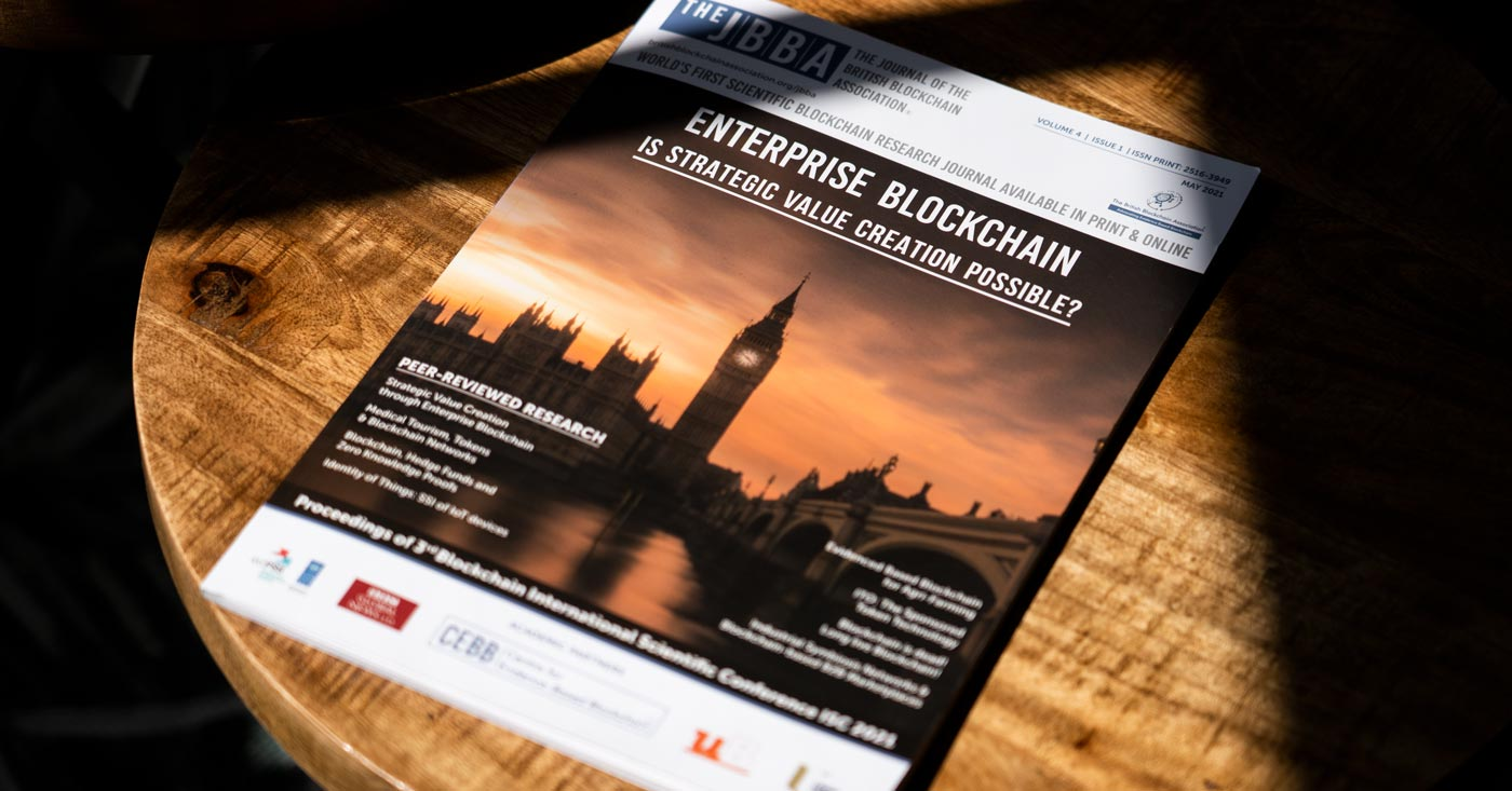The May, 2021 issue of The Journal of the British Blockchain Association