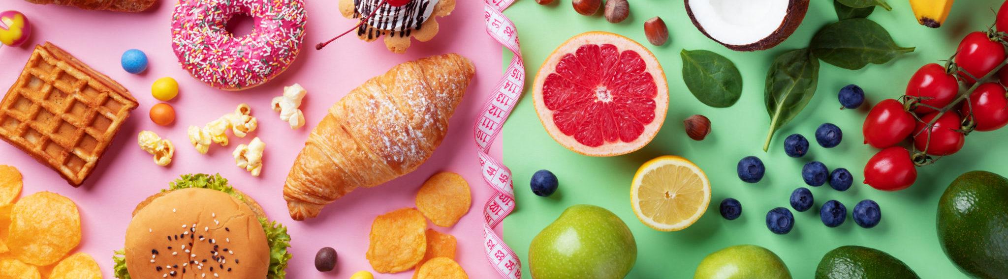 unhealthy versus healthy food photo graphic