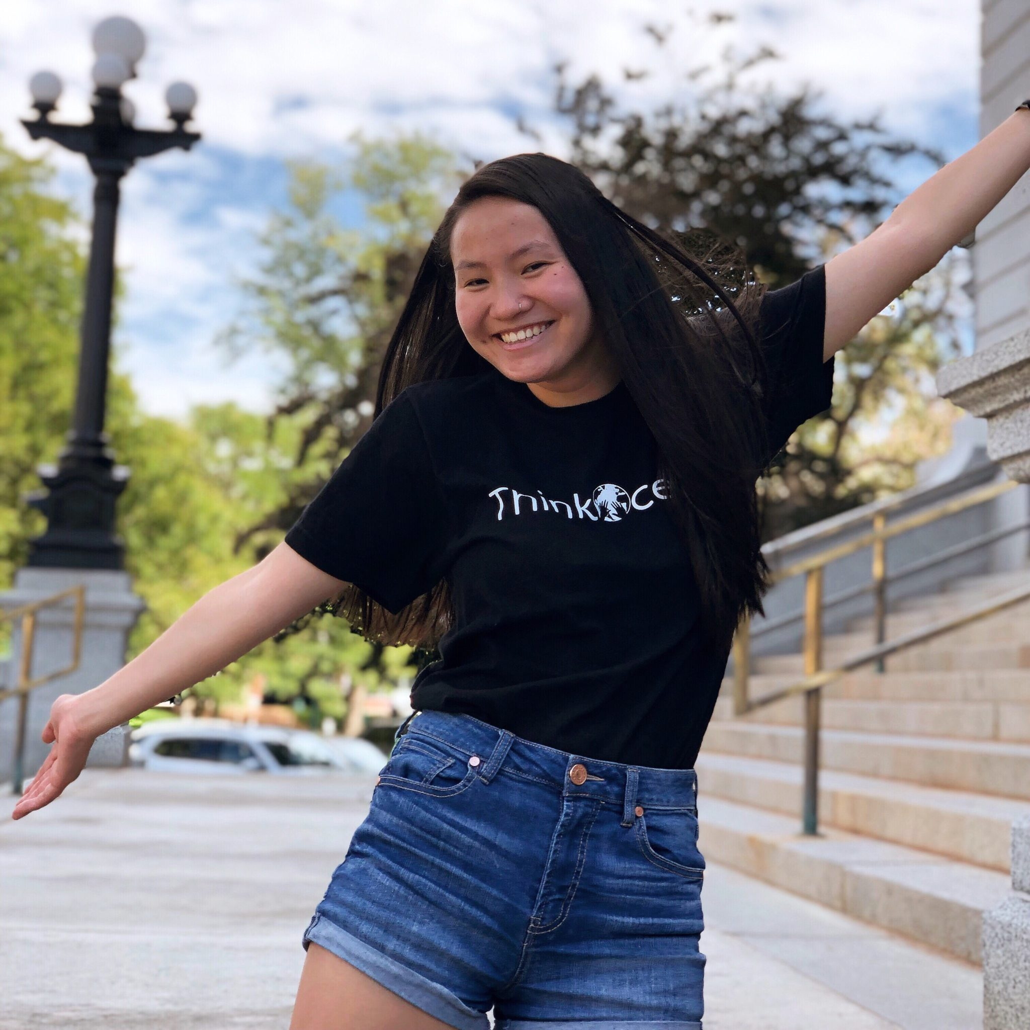 Maya wearing a Think Ocean t-shirt