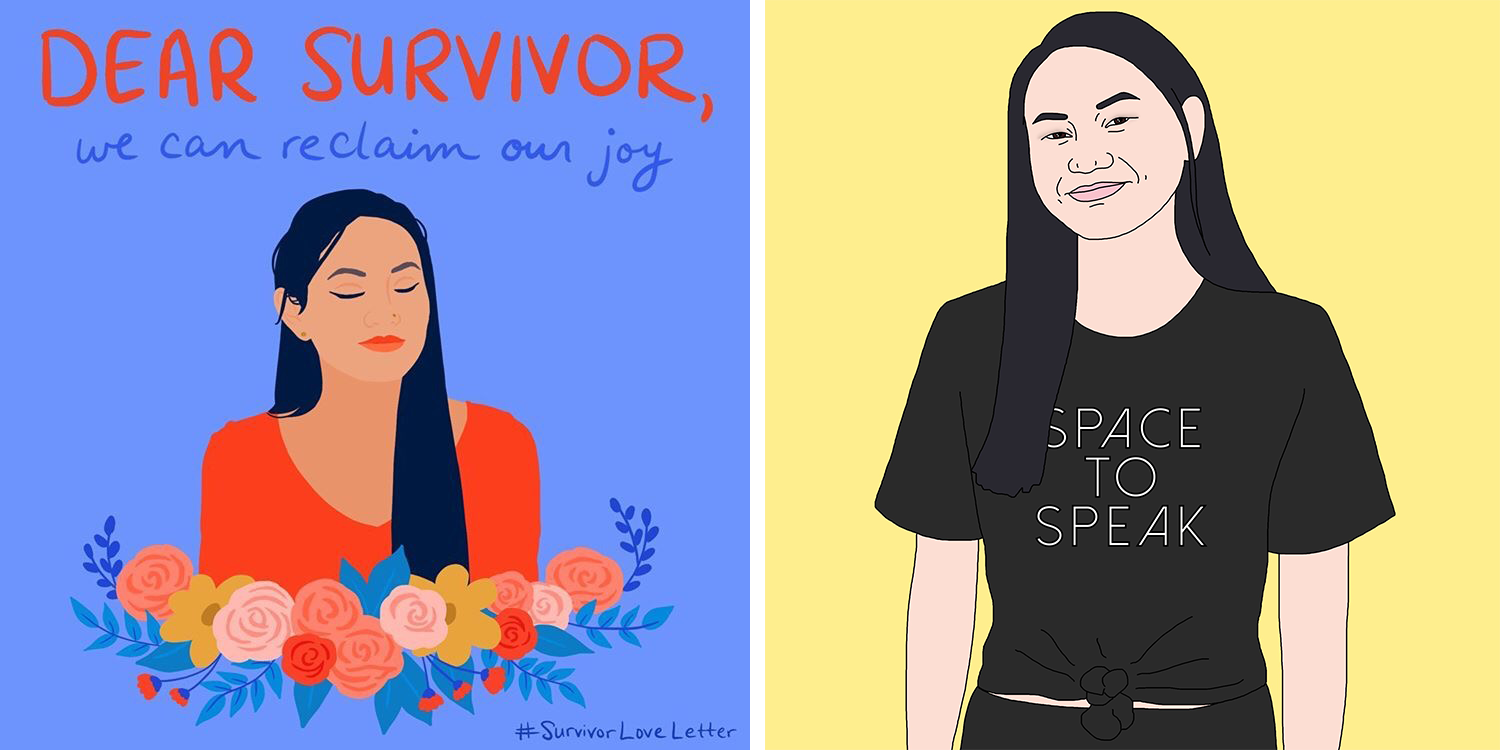 graphic illustrations of Maya: Dear Survivor and wearing a Space to Speak t-shirt